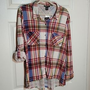 NWT XL ROBERT LOUIS PINK/IVORY MULTI COLOR FLANNEL
